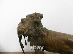 Ancien bronze animalier chien de chasse signé MOIGNIEZ authentique vénerie