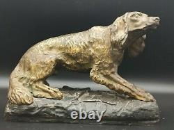Ancien bronze art déco chien de chasse bassé labrador signé dlg de BARYE