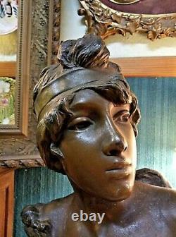 Ancien buste Art Nouveau Femme régule Statue E. Fernand Villanis C. 1900 42 cm
