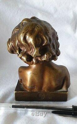Ancien buste bronze, enfant, J. CAMUS