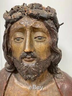 Ancien buste de Christ en bois polychrome XVIIème siècle