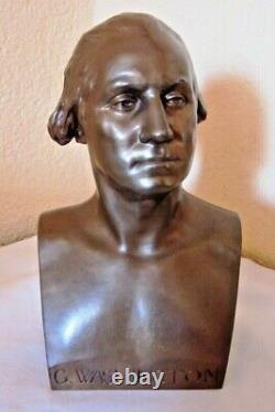 Ancien buste de G. Washington Bronze F. Barbedienne Cachet A. Collas