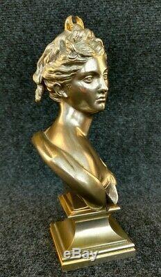 Ancien buste en Bronze Diane Chasseresse à Double Patine Argentée Et Doré