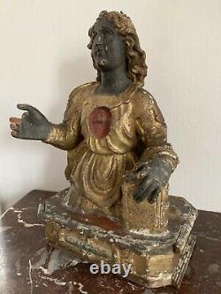 Ancien buste reliquaire sculpture statue de sainte religieuse en bois doré XVII