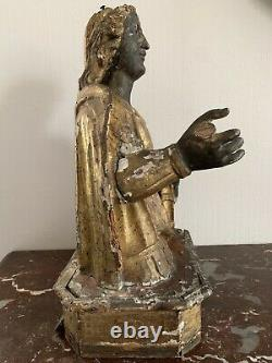 Ancien buste reliquaire sculpture statue sainte vierge religieuse bois doré XVII