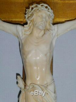 Ancien crucifix / christ en croix epoque napoléon iii, Bois doré XIXe Sculpture