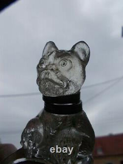 Ancien encrier art deco 1920 bouledogue francais RARE! Sculpture statue en verre