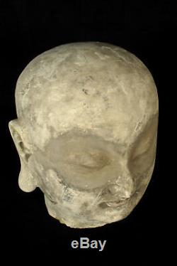 Ancien fragment sculpture torchis tête Bouddha / Décoration bouddhiste religion