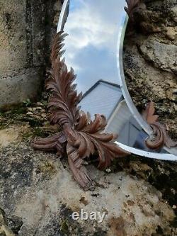 Ancien miroir bois sculpte XIXe, forêt noire forme de lune dlg Gabriel viardot