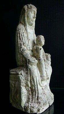 Ancien moulage vierge enfant en majesté pierre Old mother child stone sculpture