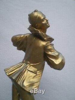 Ancien paire de sculpture 19th BRUYNEEL pierrot colombine antique statue figural