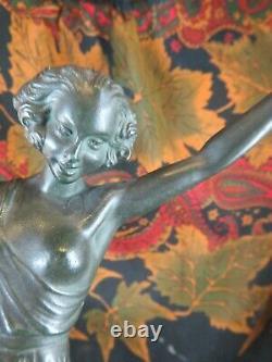 Ancien regule statue sculpture epoque art deco danseuse 1930 fayral le verrier