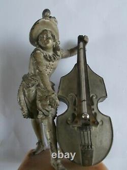Ancien thermomètre du 19eme siècle sculpture musicien statue antique thermometer