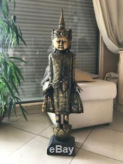 Ancienne Belle Statue Sculpture Asiatique Inde Asie Bois Decoration Or