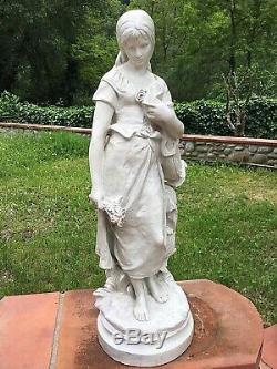 Ancienne Grande STATUETTE TERRE CUITE JEUNE FEMME À LA MANDOLINE Marquée MIGNON