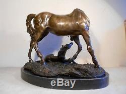 Ancienne Grande Sculpture Statue Bronze Signé Mene Cheval Poulain Dufresne 8 KG