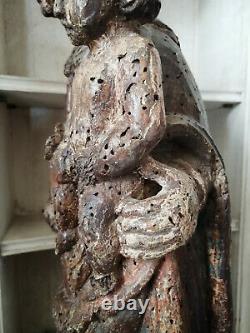 Ancienne Grande Vierge a l'enfant en bois Polychromé xveme siecle