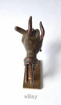 Ancienne MAIN AVALOKITESHVARA BRONZE MUDRA antérieur 18ème siècle TIBET statue 1