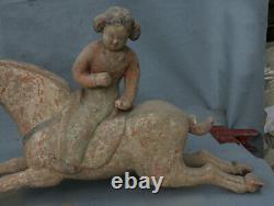 Ancienne Paire de Statue Cheval FPaire de statues de chevaux de cheval de fille