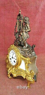 Ancienne Pendule De Paris Horloge Statue Sculpture Bronze Regule XIX