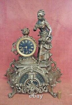 Ancienne Pendule Horloge Marbre Et Regule Sculpture Statue XIX