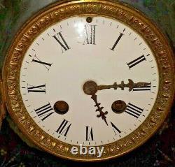 Ancienne Pendule Paris Horloge Bronze Régule Marbre Statue Sculpture XIX