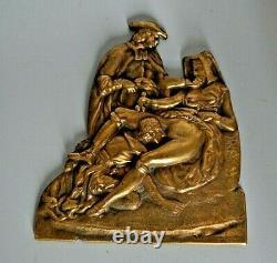 Ancienne Plaque De Bronze Statue Erotique Erotic Scene Galant Tableau Pas Toile