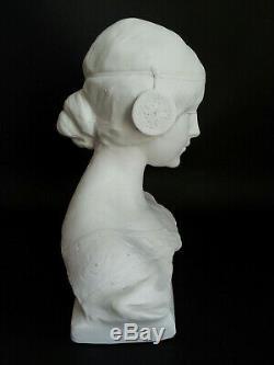 Ancienne SCULPTURE BUSTE FEMME BISCUIT signé A. GORY SEVRES DOLCEZZA Art Nouveau
