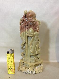 Ancienne STATUE CHINOISE SAGE BOUDDHA EN PIERRE DE LARD chinese stone
