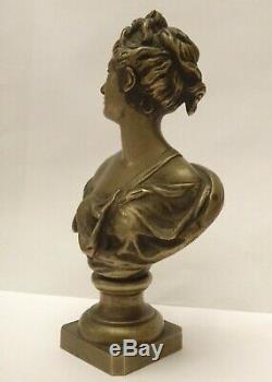 Ancienne Sculpture En Bronze Buste De Diane Déesse De La Mythologie Romaine