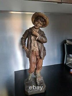 Ancienne Sculpture En Terre Cuite par Goldscheider Statue d'enfant old Xixeme