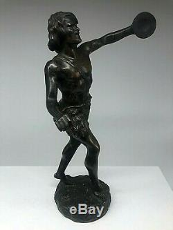 Ancienne Sculpture Statue Bronze Homme Cymbalier Signee Thillmany Xixeme 19eme