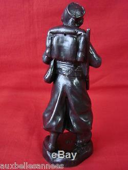 Ancienne Sculpture Statue Zouave En Regule Signe L. Goyeau