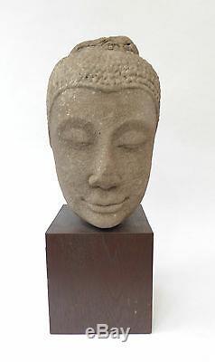 Ancienne Sculpture Tête de Bouddha en Pierre de Grès Thailande 15ème siècle