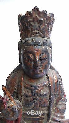 Ancienne Sculpture en bois doré SAMANTABHADRA BHODHISSATVA 19ème INDOCHINE