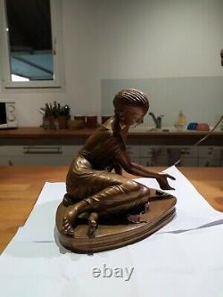 Ancienne Statue Bronze La Joueuse D'osselets Signée F. Barbedienne
