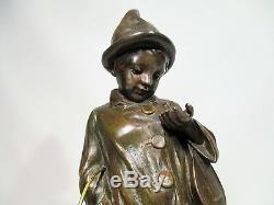 Ancienne Statue Enfant Musicien De Rue Regule A Patine Bronze Signe G Demange