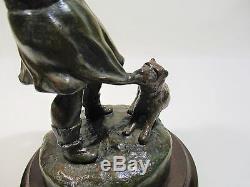Ancienne Statue Petite Fille Et Chien Deux Amis Signe Pfeffer