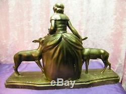 Ancienne Statue Platre Art Deco Signe Numerote Femme Avec Animaux Pas Bronze