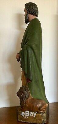 Ancienne Statue Religieuse SAINT-MARC LION Fonte d'Art À DURENNE PARIS no Bronze