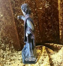 Ancienne Statue Saint Mathurin Sculpture Sur Bois Chêne Polychrome XIXe 43 Cm