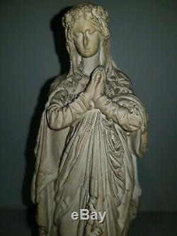 Ancienne Statue, Sainte, Vierge en Plâtre sculpté, Marquer au pied, XIX ou Avant