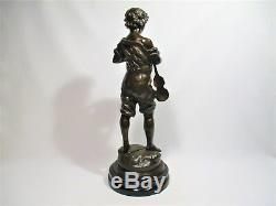 Ancienne Statue Sculpture Bronze Joueur De Violon Personnage Signe L & F Moreau