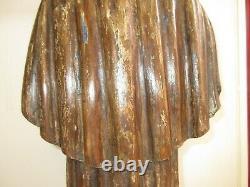 Ancienne Statue Sculpture en bois, Sainte, Religieuse, Haute époque, H66cm