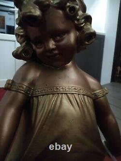 Ancienne Statue Statuette Fille Fillette Plâtre Polychrome Doré Première Chemise