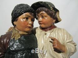 Ancienne Statue Terre Cuite Polychrome Johann Maresch Les Deux Gosses XIX Eme