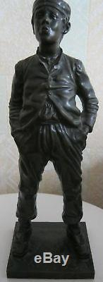 Ancienne Statue célèbre bronze le siffleur de Halfdan Hertzberg 33 cm -3 kg