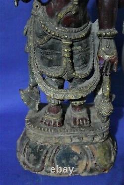 Ancienne Statue de Vishnu -Bois polychrome début XXème siècle