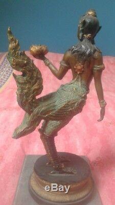 Ancienne Statue en Bronze KINNARI Ange Gardien femelle Asie du sud est