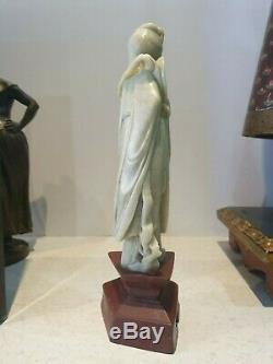 Ancienne Statuette Asie En Jade